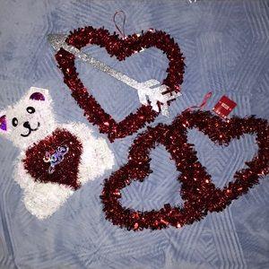 ♥️🆕 Set of 3 Hanging Valentines Tinsel Decor